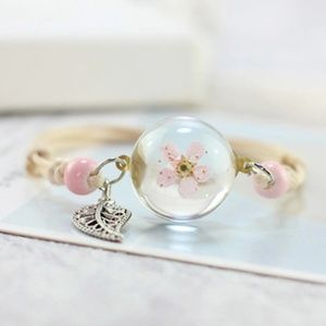 Jewelry - Pink Petal Flower Encased Leaf Bracelet B13